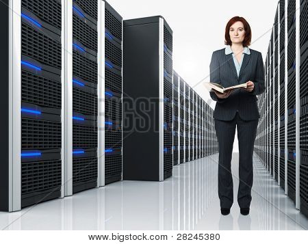 3d image of datacenter with lots of server and female worker