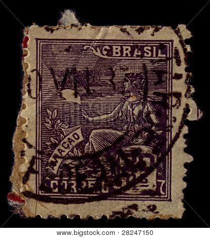 BRAZIL-CIRCA 1936:A stamp printed in BRAZIL shows image of Aviation is the design, development, production, operation, and use of aircraft, especially heavier-than-air aircraft, circa 1936.