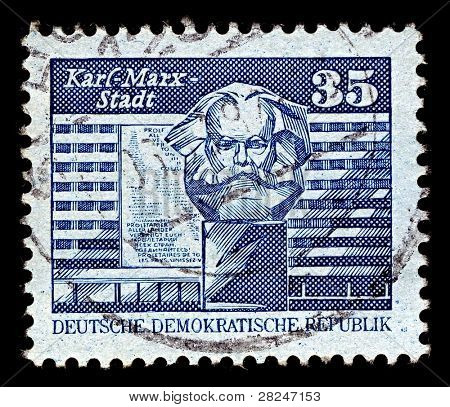 GERMANY-CIRCA 1980:A stamp printed in GERMANY shows image of Chemnitz  known from 1953 to 1990 as Karl-Marx-Stadt is the third-largest city of the Free State of Saxony, Germany, circa 1980.