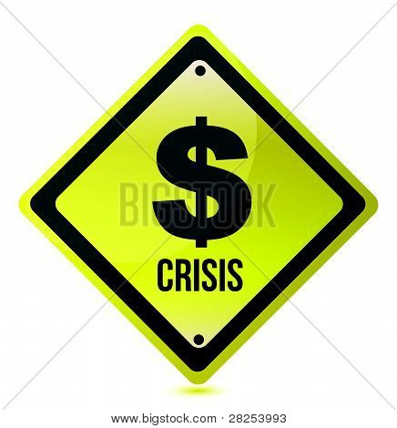yellow dollar crisis sign illustration design on white
