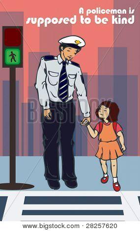 Smilling Policeman and Cute Schoolgirl