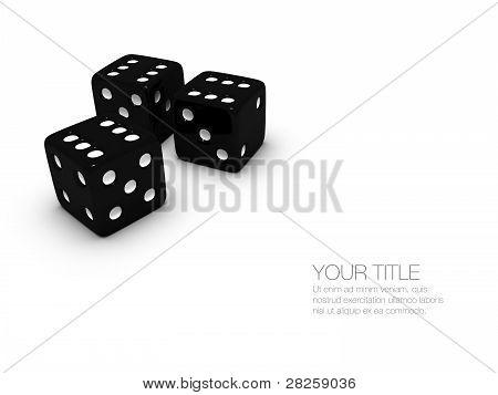 Three Black Casino Dice
