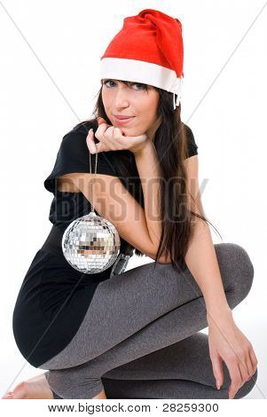 Beautiful happy Christmas woman in red hat on white background
