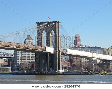 Brooklyn Bridge as seen from South Street Seaport
