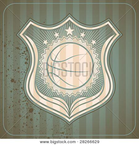 Retro basketball crest. Vector illustration.