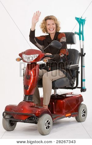 Disabled elderly woman beckons