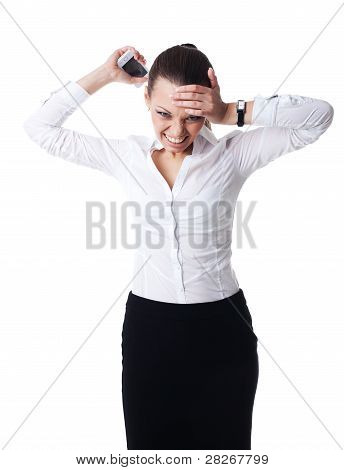 Anger young business woman scream on cell