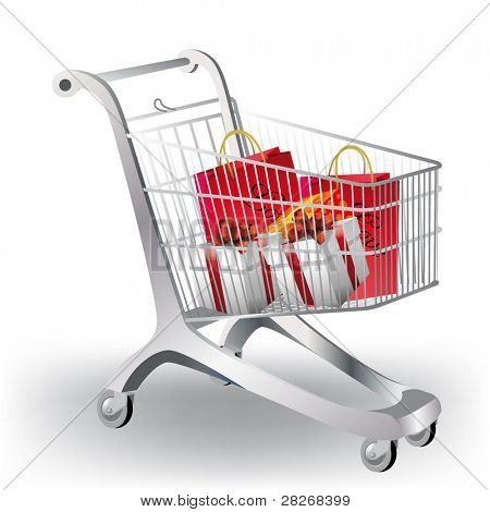 A shopping cart filled with colorful gifts on white.