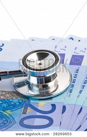 Stethoscope On 20-euro Banknotes