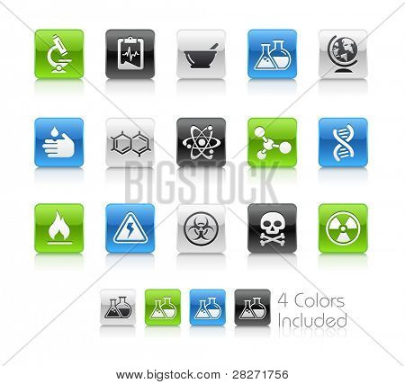 Science Buttons  / The file Includes 4 color versions in different layers.