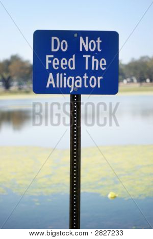 Don'T Feed The Alligator Sign