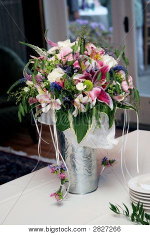 Bouquet In A Silver Vase