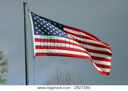 American Flag On A Stormy Day