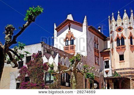 Church With Beautiful Architecture And Garden. Lloret De Mar, Costa Brava, Spain.