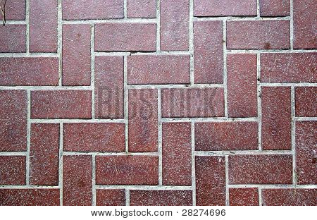 Floor Tiled With Red Bricks. Good As Backdrop Or Background.
