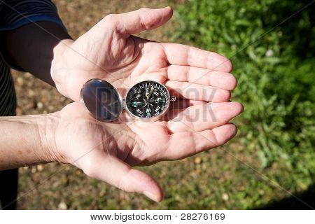 Granny With Compass On Her Hands