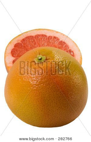 Couple Halfs Of Grapefruit Isolated On White Background