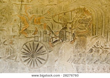 Ancient Bas Relief of Vishnu conquering the demons
