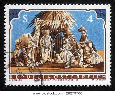 AUSTRIA - CIRCA 1981: A greeting Christmas stamp printed in the Austria shows Christmas Creche, circa 1981