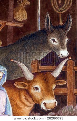 Animals, A nativity scene, creche, or crib, is a depiction of the birth of Jesus