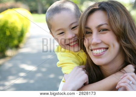 Mother And Son Hug (Focus On Boy)