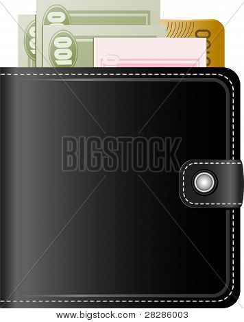 Wallet with money on a white background