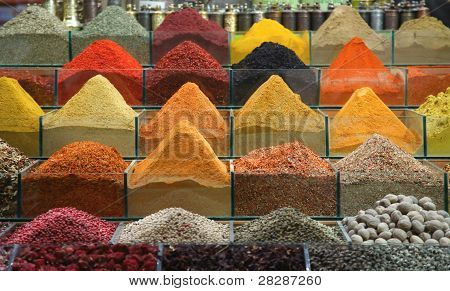 Spices Sold In The Traditional Turkish Bazaar