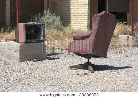 Lonely broken television set.