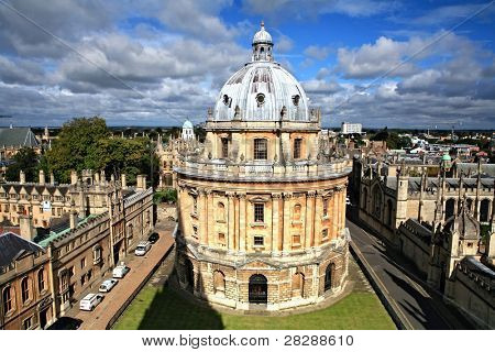 The landmark Radcliffe Camera reading room of the University's Bodleian Library in central Oxford, England, surrounded by the spires of historic colleges