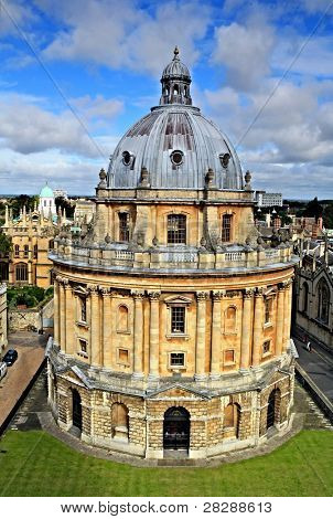 The landmark Radcliffe Camera reading room of the University's Bodleian Library in central Oxford, England