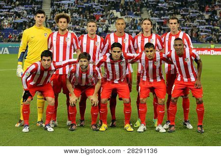 BARCELONA - DEC, 11: Atletico de Madrid team posing before a Spanish League match between Espanyol and Atletico Madrid at the Estadi Cornella on December 11, 2011 in Barcelona, Spain