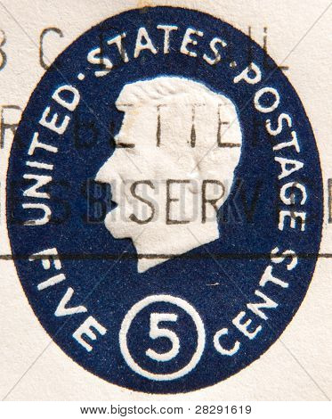 USA - CIRCA 1965: A 5 cent stamp printed in USA shows image portrait Abraham Lincoln (1809-1865), was the 16th president of the United States (1861-1865), circa 1965