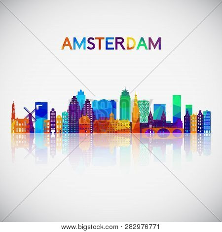 Amsterdam Skyline Silhouette In Colorful