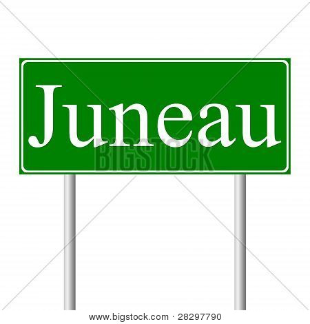 Juneau green road sign