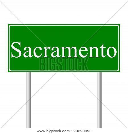 Sinal de verde estrada do Sacramento