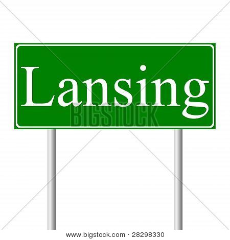 Lansing green road sign