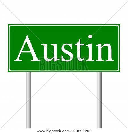 Austin green road sign