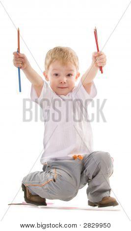 Boy With Pencils