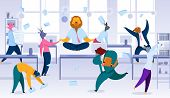 Keeping Calm, Balance In Stressful Work Situation Flat Vector Concept. Office Worker, Company Employ poster