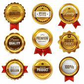 Gold Badges Seal Quality Labels. Sale Medal Badge Premium Stamp Golden Genuine Emblem Guarantee Roun poster
