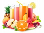 Isolated Juices. Glasses Of Fresh Juice And Pile Of Fruits And Berries Isolated On White Background  poster