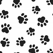 Animal Paw Print Seamless Pattern Background. Business Flat Vector Illustration. Dog Or Cat Pawprint poster