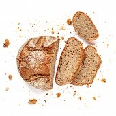 Sliced Bread Isolated On  White Background. Fresh Bread Slices Close Up. Bakery, Food Concept. Top V poster