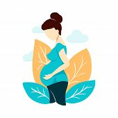 Vector Flat Style Pregnant Woman On White On Mothers Day Card. Composition With Leaves And Clouds.  poster
