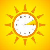 Summer Time Standard Time After Advancing For Daylight Saving Time On Yellow Background Vector Illus poster