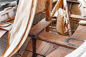 Sailing Rowing Wooden Fishing Boat. Inside View. poster