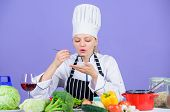 Gourmet Main Dish Recipes. Delicious Recipe Concept. Girl In Hat And Apron. Cooking Healthy Food. Fr poster