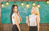 Attractive Teachers Overworking After Classes. Ladies Ready To Start Private Lesson, Chalkboard On B poster