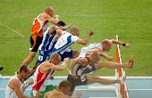 BARCELONA, SPAIN - JULY 30: Competitors of 100m Hurdles Men during the 20th European Athletics Champ