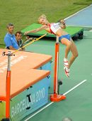 BARCELONA, SPAIN - AUGUST 01: Svetlana Shkolina of Russia competes on High Jump Final of the 20th Eu